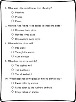 The Runaway Pizza Literature Packet