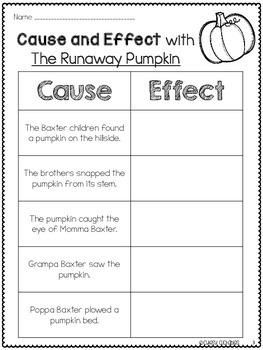 The Runaway Pumpkin Reading Freebies {Cause & Effect and Sequencing}