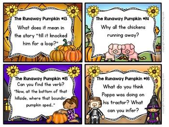 The Runaway Pumpkin Task Cards {EDITABLE}