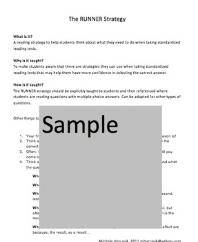 The Runner Strategy for Reading (Standardized Testing)