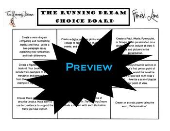 The Running Dream Choice Board Novel Study Activities Menu Book Project