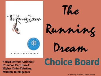 The Running Dream Choice Board Novel Study Activities Menu Book Project