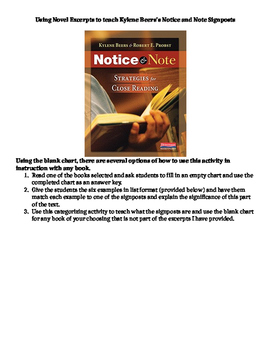 The Running Dream Notice and Note Strategies