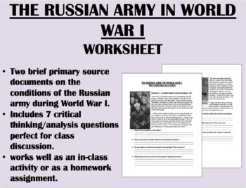 The Russian Army in World War One - Russian Revolution - Global/World History