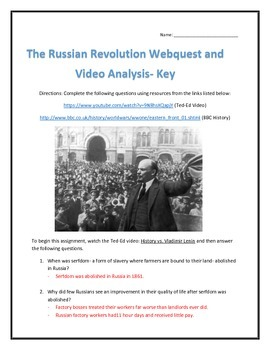 The Russian Revolution- Webquest and Video Analysis with Key