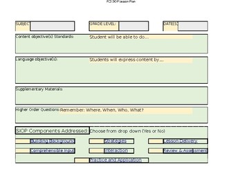 The Siop Model Lesson Plan Template
