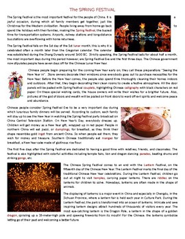 The SPRING FESTIVAL - Chinese New Year - Reading Comprehension