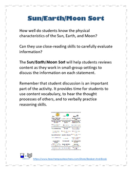 Science STAAR Review Sun/Earth/Moon Sort