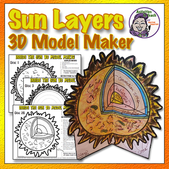 The SUN: 3D Model Foldable of the Sun & It's Layers (Middle School Solar  System)