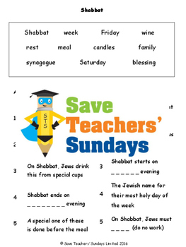 The Sabbath Lesson plan and Worksheets