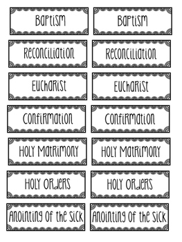 The Sacraments Sorting Cards