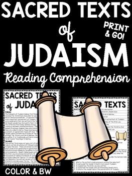 The Sacred Texts of Judaism Reading Comprehension Worksheet Torah Jewish