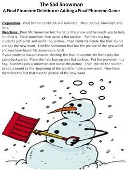 The Sad Snowman 2 Final Phoneme Deletion Game