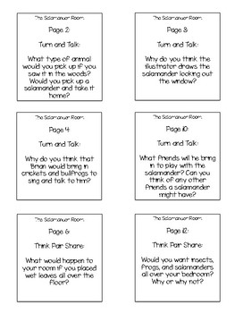 The Salamander Room Interactive Read Aloud Sticky Note Questions