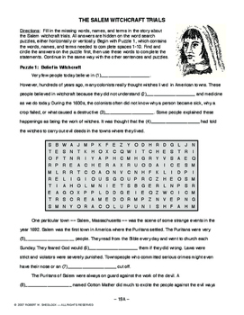 Salem Witchcraft Trials AMER. HISTORY LESSON 19 of 150 Puzzles+Critical Thinking
