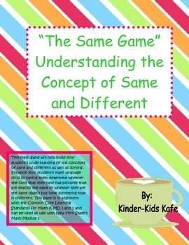 """""""The Same Game""""  Understanding the Concept of Same and Different"""