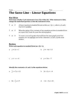 The Same Line Worksheet