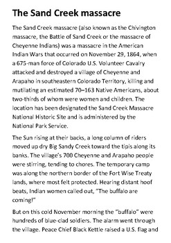 The Sand Creek Massacre Handout