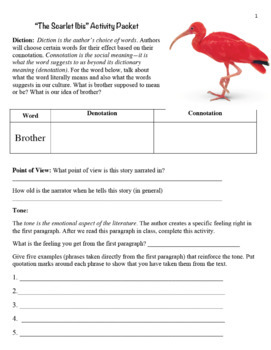 The Scarlet Ibis Activity