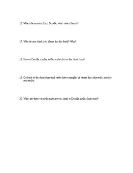 The Scarlet Ibis: Comprehension Questions (Adapted)