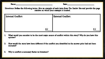 The Scarlet Ibis: Conflict Chart Assignment/Graphic Organizer