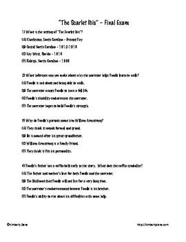 The Scarlet Ibis Final Exam Test