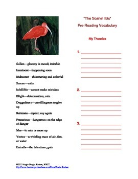 The Scarlet Ibis Pre-Reading Vocabulary Workout