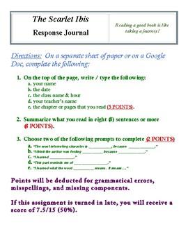 The Scarlet Ibis Response Journal