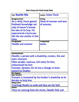 the scarlet ibis short story and novel study guide answer key by rh teacherspayteachers com Scarlet Ibis Coloring Page Scarlet Ibis Cartoon