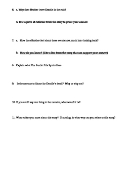 The Scarlet Ibis Study Guide