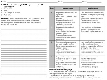 The Scarlet Ibis Symbolism Analysis Close Reading and Writing