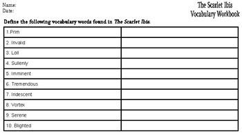 The Scarlet Ibis: Vocabulary Workbook