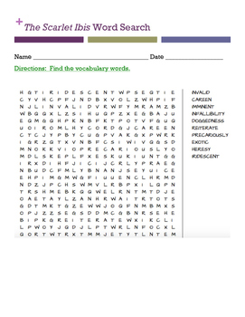 The Scarlet Ibis Word Search