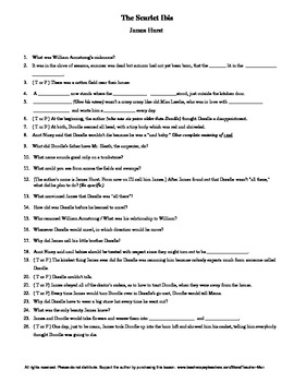 the scarlet ibis by james hurst complete guided reading worksheet rh teacherspayteachers com Scarlet Ibis Story Scarlet Ibis Story