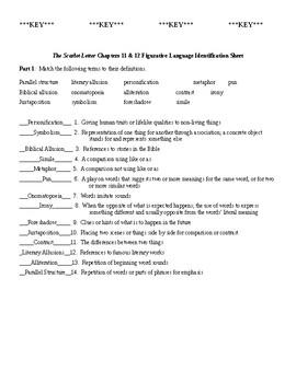 the scarlet letter ch 11 12 figurative lang worksheet key tpt. Black Bedroom Furniture Sets. Home Design Ideas