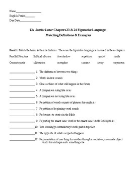 The Scarlet Letter Ch 23 & 24 Figurative Language & KEY