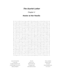 The Scarlet Letter Ch. V Vocabulary Word Search