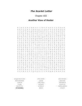 The Scarlet Letter Ch. XIII Vocabulary Word Search