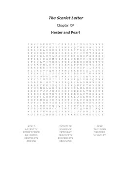 The Scarlet Letter Ch. XV Vocabulary Word Search