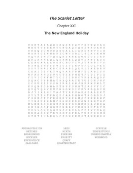 The Scarlet Letter Ch. XXI Vocabulary Word Search