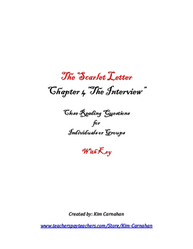 The Scarlet Letter Chapter 4 Close Reading & Writing Prompt & KEY