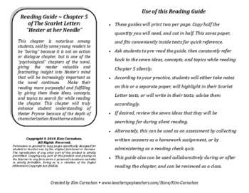 The Scarlet Letter Chapter 5 Reading Guide