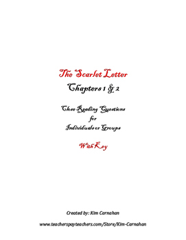 The Scarlet Letter Chapters 1 & 2 Close Reading Introduction & KEY