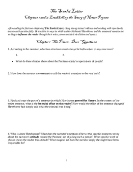The Scarlet Letter Chapters 1 & 2 Close Reading Introducti