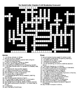 The Scarlet Letter Chapters 9&10 Vocab Crossword & Word Search
