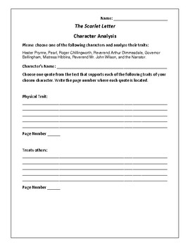 The Scarlet Letter - Character Analysis Activity - Nathaniel Hawthorne