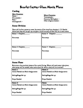 The Scarlet Letter Class Movie Planning Sheets