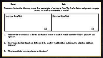 The Scarlet Letter: Conflict Chart Assignment/ Graphic Organizer