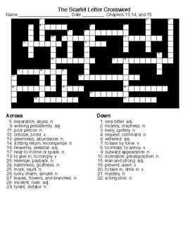 The Scarlet Letter  Crossword and Word Search c13,14&15 w/KEYS