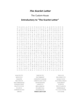 The Scarlet Letter Custom House Vocabulary Word Search
